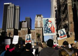 People gather for a Women's March in Los Angeles.  (AP Photo/Jae C. Hong)
