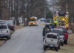 Image: AP: Emergency crews attend Marshall County High School after a fatal school shooting on 23 January 2018