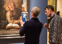 Tim Cook, CEO of Apple, and Alex Mayhew, CEO Impossible Things,  at the Art Galley of Ontario.