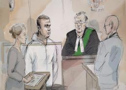 (Image: Alexandra Newbould/The Canadian Press via AP: Drawing of scene as Alek Minassian appeared in court)