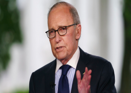 White House chief economic adviser Larry Kudlow speaks during a television interview outside the West Wing of the White House, in Washington, Friday, May 18, 2018. (AP Photo/Carolyn Kaster)