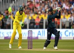 Jason Roy of England hits a boundary during the fourth ODI against Australia at Durham on Thursday.