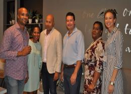 From L to R: Sean Edwards, Regional Business Development Manager, Virgin Atlantic; Cassie-Marie St. John, Marketing Manager, Going Places Travel; Andre Bello, Commercial Manager - Caribbean, Virgin Atlantic; Alfredo Weatherhead, Chief Executive Officer, Going Places Travel; Beverley Layne, Marketing & Communications Executive - Caribbean, Virgin Atlantic; Danielle St. John, Chief Operating Officer, Going Places Travel.