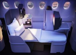 The new design for one of the flat beds in Upper Class.