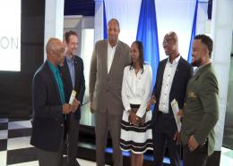 JOA President Christopher Samuda (left), shares ideas with Chris Hind, President, Jamaica Squash Association; Arjune Bewley, Director, Starlight Production Limited; Sophia Lau-Harris, Director of Marketing and Business Development, Jamaica Football Federation; Leon McNeil, President, Jamaica Canoe Federation and Ryan Foster - CEO, JOA at a press conference at Terra Nova Hotel on Thursday.