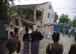 Gros morne - Un bâtiment endommagé lors du séisme du 6 octobre 2018