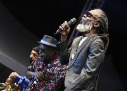 The Mighty Diamonds band performs at the recent Rebel Salute reggae festival in St Ann. PHOTO: Marlon Reid)