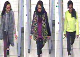 This Monday Feb. 23, 2015 file handout image of a three image combo of stills taken from CCTV issued by the Metropolitan Police shows Kadiza Sultana, left, Shamima Begum, center, and Amira Abase going through security at Gatwick airport, south England, before catching their flight to Turkey. (Metropolitan Police via AP)