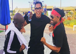 Anthon Chow Lin On aka Chinese Laundry playfully part Iwer and Machel backstage at an event earlier in the Carnival season.