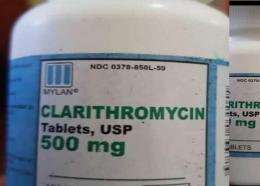 Un flacon du «Clarithromycin tablets, 500 mg »