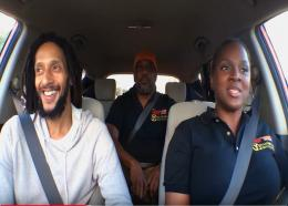 (From left) Singer Julian Marley, Chef Irie (Taste the Islands host), and Calibe Thompson (Taste the Islands producer and TTIX Yellow Cab Karaoke host).