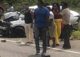 The scene of a crash on the PJ Patterson Highway on Sunday in which three persons were seriously injured, including at least one in a critical condition.
