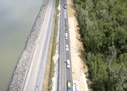 The elevated segment of roadway along Mosquito Creek was opened to vehicular traffic at midday on Wednesday.