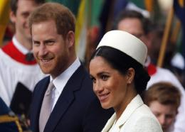 FILE - In this Monday, March 11, 2019 file photo, Britain's Prince Harry and Meghan, the Duchess of Sussex leave after the Commonwealth Service at Westminster Abbey in London. Prince Harry and Meghan Markle are to no longer use their HRH titles and will repay £2.4 million of taxpayer's money spent on renovating their Berkshire home, Buckingham Palace announced Saturday, January 18, 2020. (AP Photo/Frank Augstein, file)