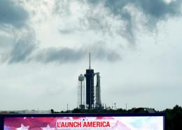 Clouds pass over the SpaceX Falcon 9, with the Crew Dragon spacecraft on top of the rocket, as it sits on Launch Pad 39-A Wednesday, May 27, 2020, at Kennedy Space Center in Cape Canaveral, Florida. (AP Photo/David J. Phillip)