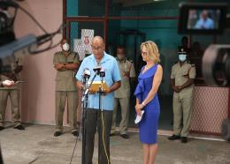 Make it Happen Foundation Founder Raquel Du Boulay-Chastanet (right), Inspector Lucius Lake