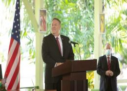 US Secretary of State Mike Pompeo following the signing of two bilateral agreements in Guyana. Photo Department of Public Information.
