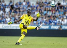 In this Aug. 25, 2019 file photo, Rennes's goalkeeper Edouard Mendy kicks the ball upfield, during the league one football match against Strasbourg, in Strasbourg Eastern France.  (AP Photo/Jean-Francois Badias, File).