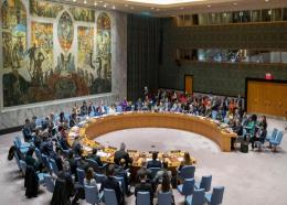 The UN Security Council holds a meeting on the Middle East, including the Palestinian question, in this Wednesday, November 20, 2019 file photo, at United Nations headquarters. (AP Photo/Mary Altaffer, File)