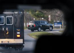 A motorcade with President-elect Joe Biden aboard arrives at Delaware Orthopaedic Specialists to see a doctor, Sunday, November 29, 2020, in Newark, Del. Biden slipped while playing with his dog Major, and twisted his ankle. (AP Photo/Carolyn Kaster)