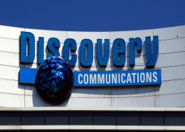 In this July 31, 2017, file photo, the Discovery Communications logo sits atop its headquarters in Silver Spring, Maryland. Photo: AP Photo/Manuel Balce Ceneta/File