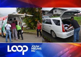 Het incident vond plaats aan de Poseidonstraat in Paramaribo Noord. Tot nu toe wordt vermoed dat het motief mogelijk in de relationele sfeer gezocht moet worden. (Foto's: KPS)