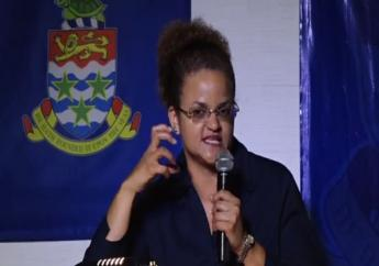 Tara Rivers speaking at a political meeting in her home constituency, West Bay South, on May 22.