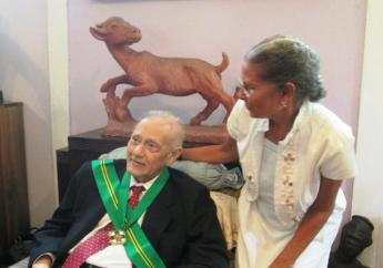 David Boxer with artist Hope Brooks on August 9, 2016 via the National Gallery of Jamaica.