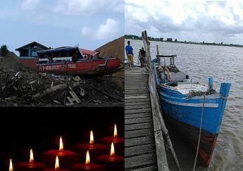 De SK-vissersboot vertoont geen zichtbare schade, terwijl de toerboot aanzienlijk is beschadigd aan de voorzijde en dak. (Foto: KPS)