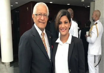 Mickela Panday (Right) and her father, Basdeo Panday