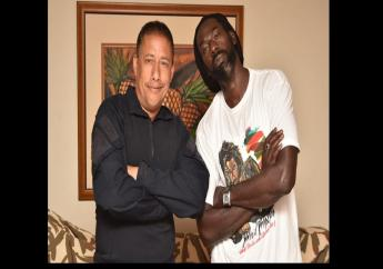 Trinidad and Tobago Commissioner of Police, Gary Griffith (left), met with and apologised to Buju Banton after cops visited the Jamaican artiste's hotel room in Trinidad with a search warrant on Saturday.