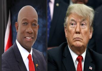Prime Minister Dr Keith Rowley (left), US President Donald Trump (right).