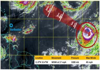 Tropical Storm Wilfred at noon on September 18, and  its path over this weekend. (Photo credit: Barbados Meteorological Office)
