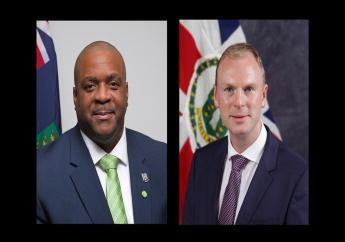 Premier Andrew Fahie and Governor Augustus Jaspert