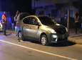 The Nissan Latio believed to have been driven by three suspects who police say opened fire on them in Fyzabad.