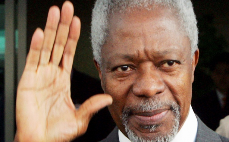 In this Sunday, May 14, 2006 file photo U.N. Secretary-General Kofi Annan waves as he gets into a car upon his arrival at the Incheon International Airport, west of Seoul, South Korea. Annan, one of the world's most celebrated diplomats and a charismatic symbol of the United Nations who rose through its ranks to become the first black African secretary-general, has died. He was 80. (AP Photo/Ahn Young-joon, Fil