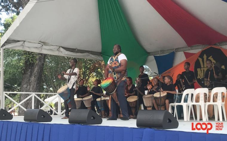 Israel Lovell Foundation drummers on stage at Art in the Park first edition.