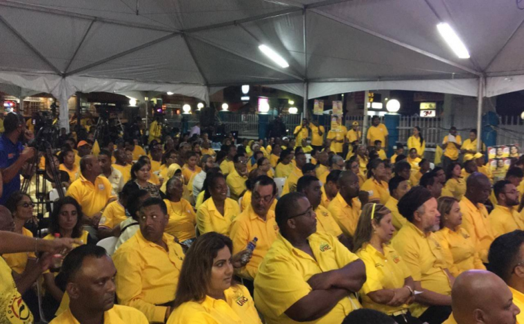 Supporters of the United National Congress (UNC) attend a public meeting in Marabella November 18, 2019. Photo via Facebook, UNC.