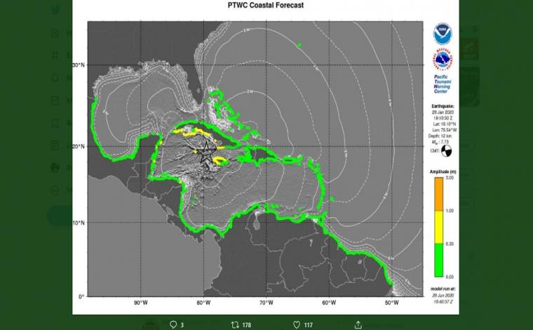 Tsunami Map showing areas of Jamaica that could be impacted by waves (in yellow) not exceeding 3 feet. (Image: Odpem)