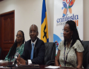 Minister of Culture, Stephen Lashley (center), flanked by Chief Cultural Officer with the National Cultural Foundation, Andrea Wells (left) and Permanent Secretary in the Ministry of Culture, Ruth Blackman.