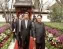 (Image: AP: Xi Kinping (L) and Kim Jong Un (R) in Beijing in video footage show by China's CCTV)