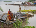 Flood effected villagers take shelter on the roof of their submerged houses in Katahguri village along the river Brahmaputra, east of Gauhati, India, Sunday, July 14, 2019. (AP Photo/Anupam Nath)