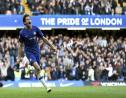 Chelsea's Marcos Alonso celebrates his goal during the English Premier League football match against Newcastle United at Stamford Bridge, London, Saturday, Oct. 19, 2019. (Steven Paston/PA via AP).