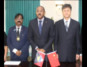 Comptroller of Customs and Excise Division Raju Boddu (left), Prime Minister Gaston Browne (center) and Chinese Ambassador Sun Ang. Photo: Office of the Prime Minister Antigua and Barbuda