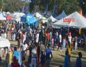 Patrons and vendors at Agrofest in Queen's Park, St Michael.
