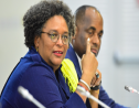 Prime Minister Mia Amor Mottley beside the Prime Minister of Dominca, Roosevelt Skerrit at the closing press conference (Source: BGIS)