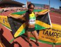Jamaican Briana Williams celebrates after winning the gold medal in the women's 200m to take the sprint double at the IAAF World Under-20 Championships on Saturday, July 14, 2018, in Tampere, Finland.