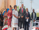 (Centre L-R) Santia Bradshaw, Prime Minister Mia Mottley, Attorney General Dale Marshall and BLP Chair Jerome Walcott.